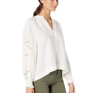 FRYE Poete White Embroidered Linen Blouse